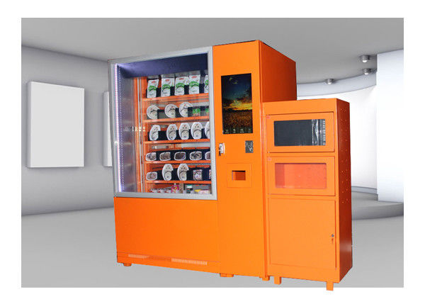 Cold And Hot Quick Food Vending Machine With Microwave Oven , 24 Hour Shop Service Online